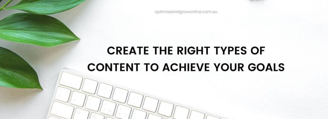 create the right types of content to achieve your goals section title banner